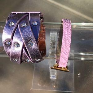 J. Crew Jewelry - Bundle 2 Leather bracelets Pink & Lavender Braided